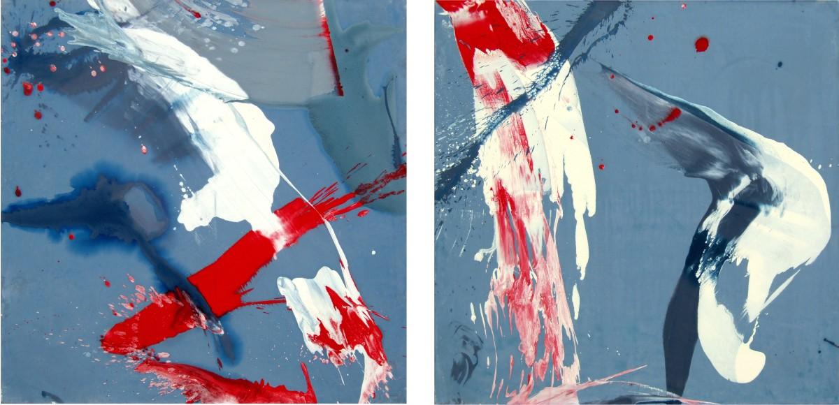 Lumière d'orage (dyptique), 2009, acrylique sur toile,2x (130x130 cm)