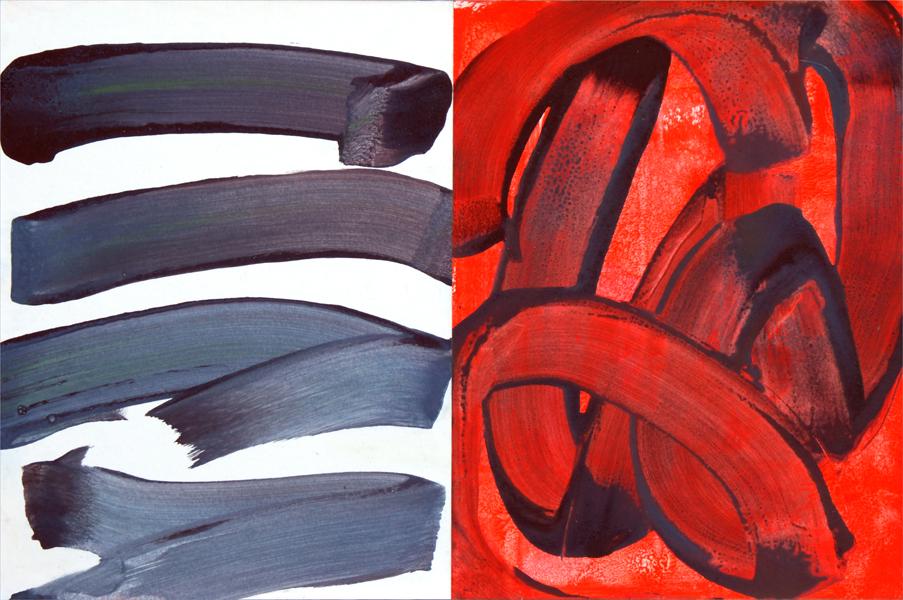 """""""Double Piste"""", 2015, acrylique sur papier monté sur bois, 33 x 50 cm"""